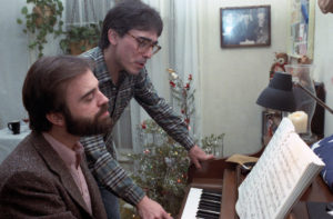 Frank and Thom composing one of their comic scores for a project in Hollywood, circa 1980s